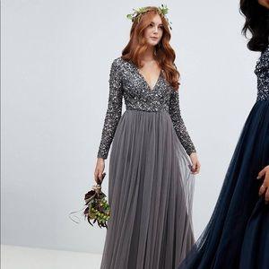 Maya Long Sleeve Maxi Dress w/ sequin & tull skirt